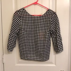 Black and White Checkered Bell Sleeve Top